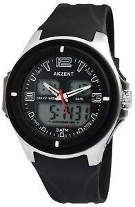 Akzent-Herrenuhr-Schwarz-Analog-Digital-Datum-Alarm-Armbanduhr-X24200018001