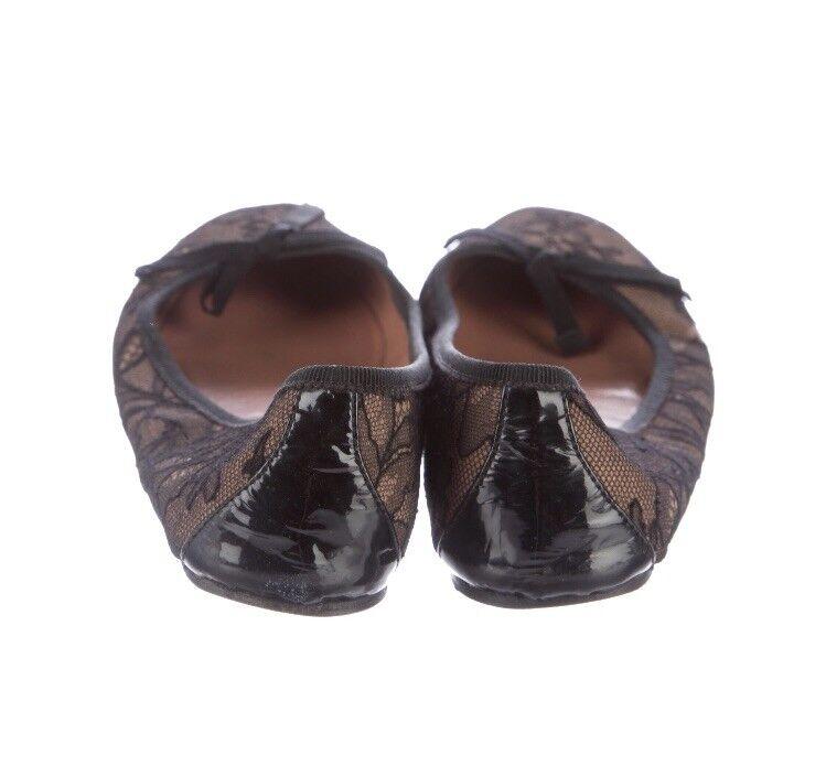 Alaia Auténtico Taco Raro Encaje Ballet Zapatos sin Taco Auténtico Sin Cordones En Bronceado Negro 36/6 65a131