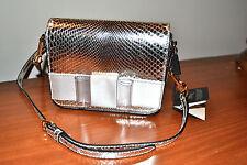 New $1695 BURBERRY Berkeley Genuine Snakeskin Silver Crossbody Bag Mini Purse