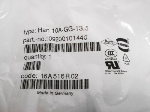 2 Harting 09200101440 HAN 10A-GG-13,5 Metal Hood Top Entry