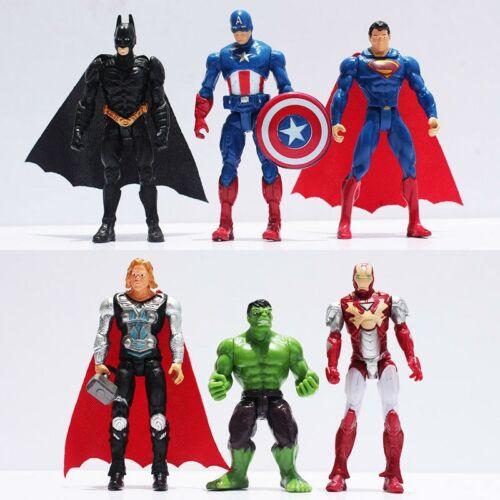 Marvel Avengers Supereroi Figure Giocattoli Hulk Batman Super Man CAKE TOPPER 6pcs