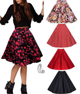AU-STOCK-WOMENS-40s-50s-VINTAGE-RETRO-PIN-UP-ROCKABILLY-SWING-MIDI-SKIRT-DR102