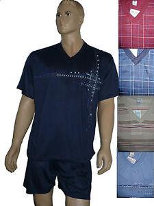 Herren-Schlafanzug-Shorty-kurz-Pyjama-Gr-M-Baumwolle-Pyjama
