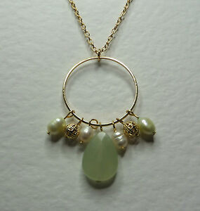 PALE-GREEN-AGATE-amp-FWP-PEARL-DANGLY-HOOP-NECKLACE-GOLD-PLATED-18-034-45-cm-PLUS-EXT