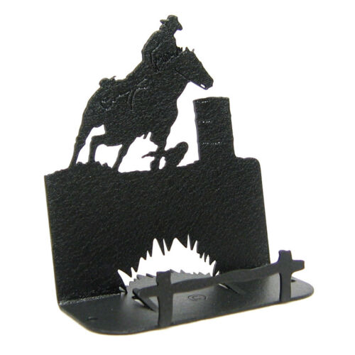 Barrel race black metal business card holder