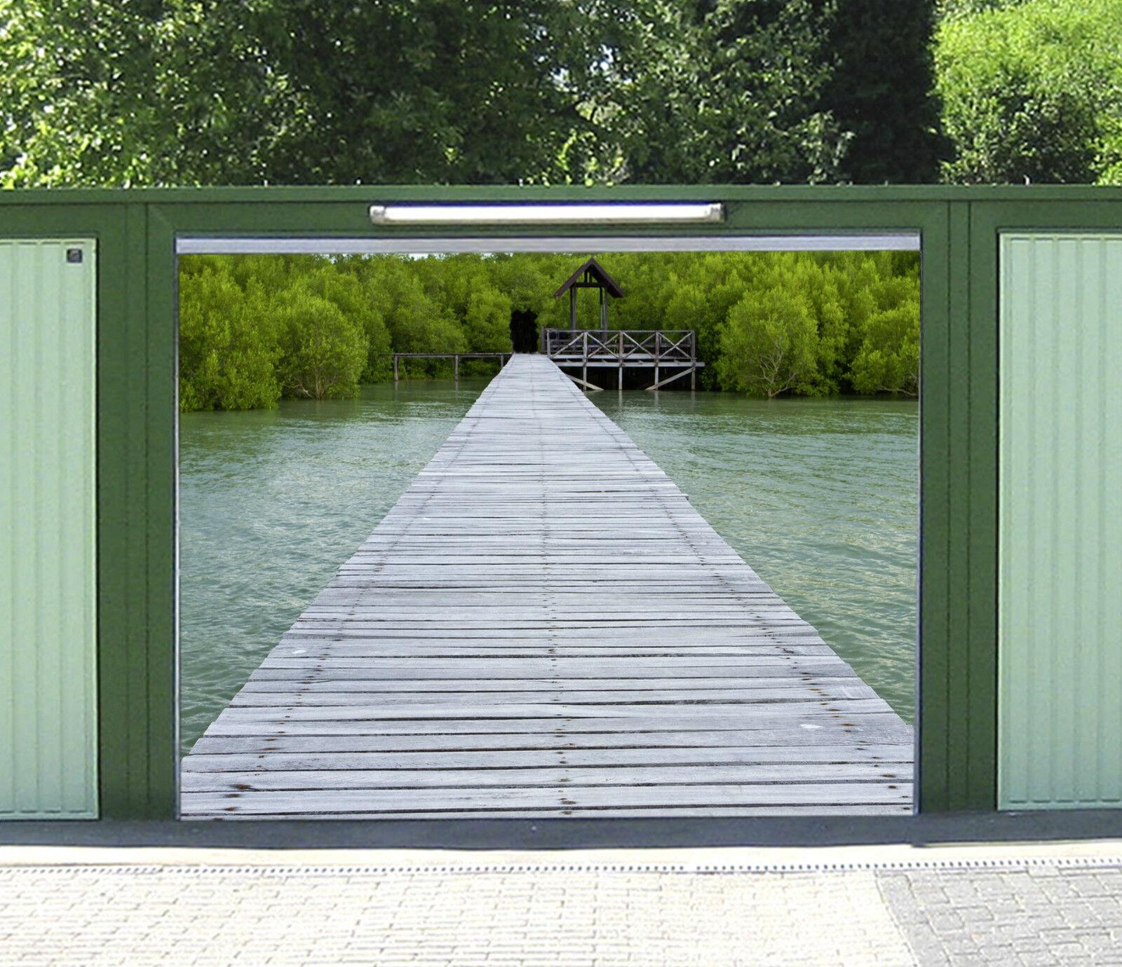3D Ponte Di Legno Garage Porta Stampe Parete Decorazione Murale AJ WALLPAPER IT