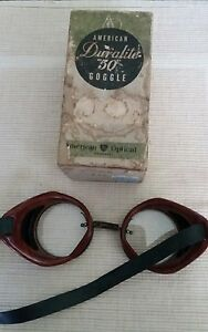 "Vintage Antique American Duralite ""50"" Safety Goggles Tortoiseshell Steampunk"