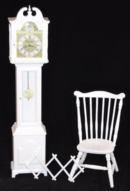 With White Grandfather Clock /& Duxbury Chair 1:12 Scale Chrysnbon Furniture Kit