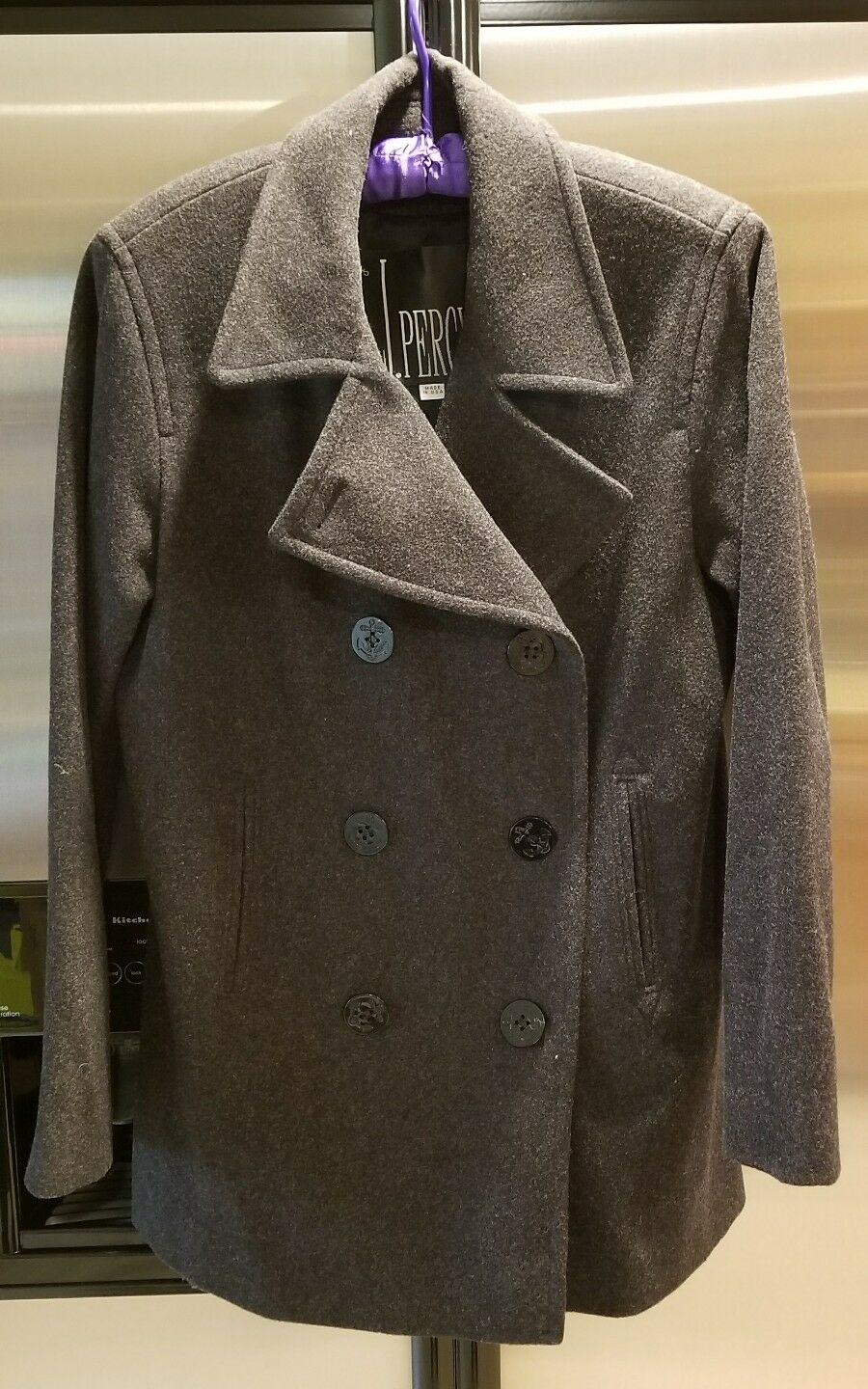 J.PERCY Women's Merino Wool 100% Double Breasted Anchor Buttons Size 6 PEACOAT