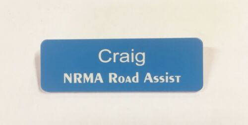 Light Blue Name Badge with White Text Pin attached Laserable Plastic 70 x 23mm