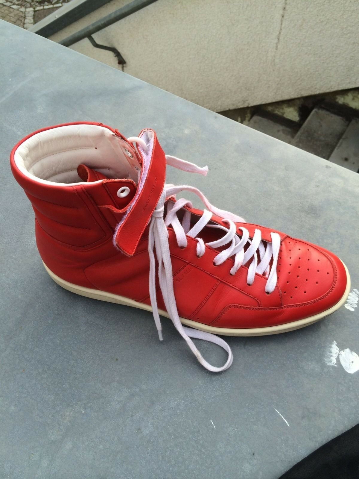 100% Laurent Original YSL Yves Saint Laurent 100% Sneaker Hi-Top Herren 41    42 Rot Red cadb8d cfa68e40cd