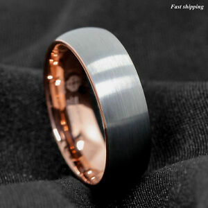 8mm-Tungsten-ring-Silver-Brushed-Rose-Gold-Inlay-Wedding-Band-ATOP-Mens-Jewelry