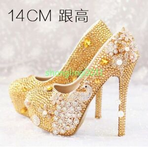 Image Is Loading New Womens Gold Rhinestones Pearl Wedding Stilettos High