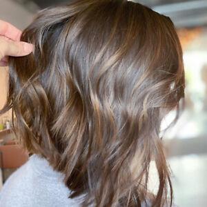 100% Real hair! New Beautiful Women's Medium Light Brown Wavy Human Hair Wigs
