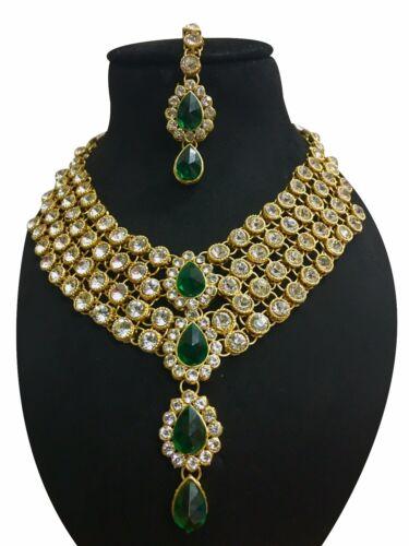 Indian Ethnic Style Bollywood Gold Plated Wedding Fashion Jewelry Necklace Set