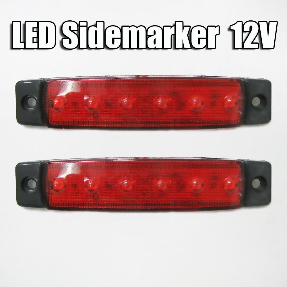 2 x 12v led rot seitenmarkierung licht lampe lkw anh nger. Black Bedroom Furniture Sets. Home Design Ideas