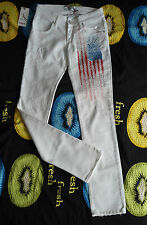 MET Jeans Pantaloni Tubo Crystal Star flag vintage USA STRASS STRETCH DENIM BIANCO 27