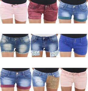 Damen-Hot-Pants-Kurze-Hotpants-Stretch-Hueft-Jeans-Hose-Shorts-Sommerhose-Capri