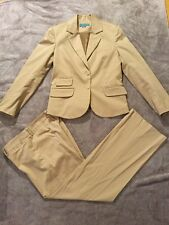 Patrizia Luca Women's Career Cotton Bland Fitted Summer Pants Suit Size 4 Beige
