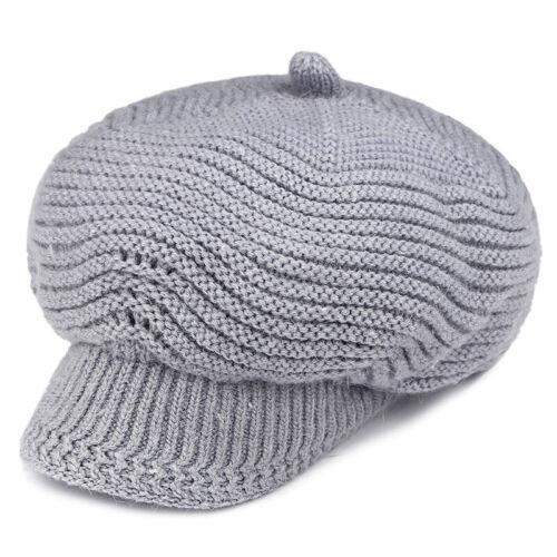 Womens Girls Beret Winter Warm Baggy Beanie Knit Crochet Hat Slouch Ski Brim Cap