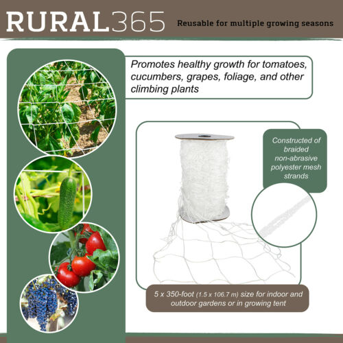 Rural365 Mesh Plant Trellis Net 5x350ft Roll Climbing Plant Scrog Garden Netting