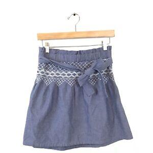 Current-Elliot-Skirt-0-Blue-White-Chambray-Rancher-Embroider-Mini-Women-s-Cotton