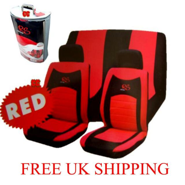 6pc Car seat covers set UNIVERSAL  cover RS rmesh racing style RED BLACK GIFT