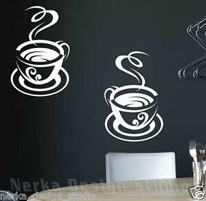 2 HUGE TEA CUP STICKERS / KITCHEN WALL QUOTE / VINYL WALL STICKER ...