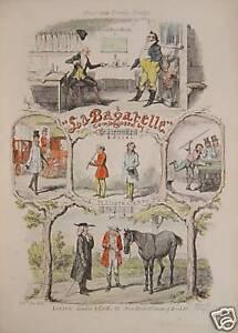 Cruikshank-Bagatelle-Horse-Billiard-Comic-Song-Clarinet-Pferdehandler-Fireplace