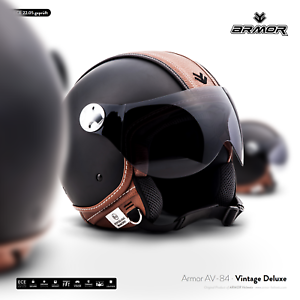 armor av 84 vintage d casque jet pilot vespa moto scooter helmet xs s m l xxl ebay. Black Bedroom Furniture Sets. Home Design Ideas