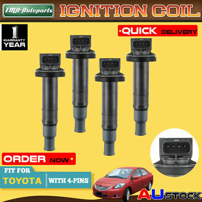 4 x Ignition Coil for Toyota Echo Prius Yaris 1.3L 1.5L 1NZ-FE 2NZ-FE ref IGC048