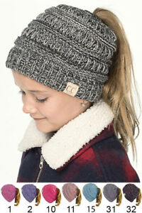 93246882de327 ScarvesMe C.C Four Tone BeanieTail Kids Children Soft Ponytail Messy ...