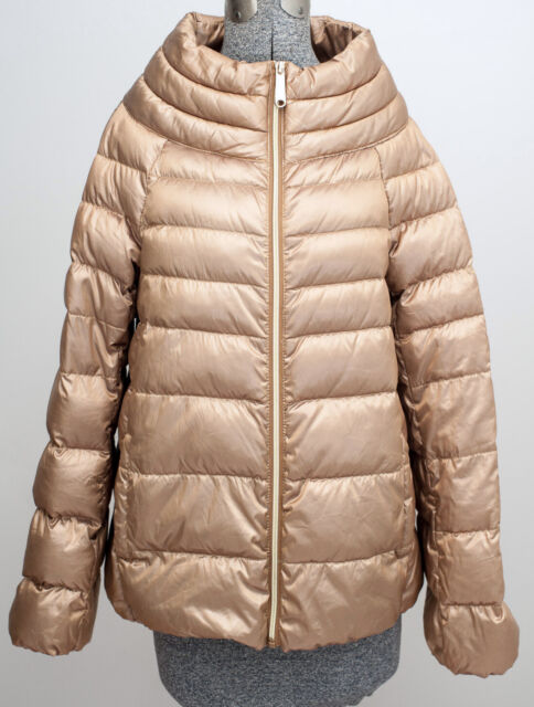 Sam Edelman Womens Gold Puffer Down Jacket Lightweight Coat Size Medium M M34829 For Sale Online