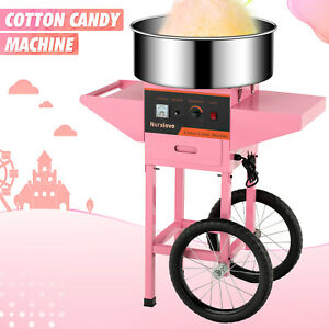 Electric-Commercial-Cotton-Candy-Machine-Candy-Floss-Maker-with-Cart-20-039-039-Pink