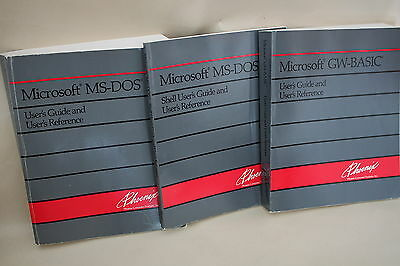 Vintage Microsoft Lot of 3 MS-Dos 4.01 GW-Basic Shell User's Guide Books
