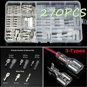 270X-Conector-Electrico-Terminal-Tipo-Pala-Crimp-kits-de-aislamiento-femenino-masculino-Manga