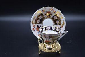 Franziska Hirsch Dresden German Imari Flowers Red Blue & Gold Tea Cup & Saucer d