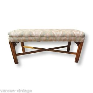 Vintage Fretwork X Base Bench Chippendale Chinoiserie Hollywood Regency Baker Ebay