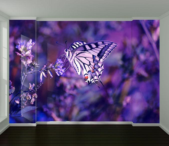 3D lila Butterfly Paper Wall Print Decal Wall Wall Murals AJ WALLPAPER GB