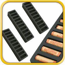 3 Rolled Coin Storage Organizer Quarters Home Office Black 2 Quarter Holder