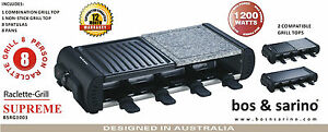 BOS /& SARINO Raclette Indoor Frying Grill Teppanyaki BBQ Low Fat Cooking 8Person