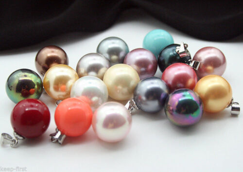 Lots 10pcs Multicolor 14MM Round White Mother Of Pearl Shell Pendant