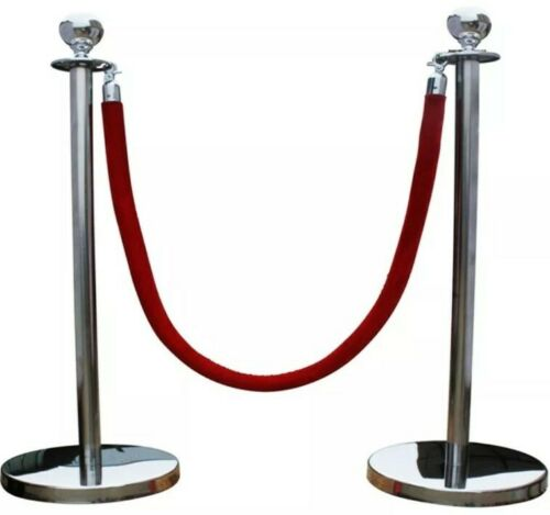 SILVER QUEUE CONTROL BARRIER POSTS STAND SECURITY STANCHION DIVIDER STEEL SET