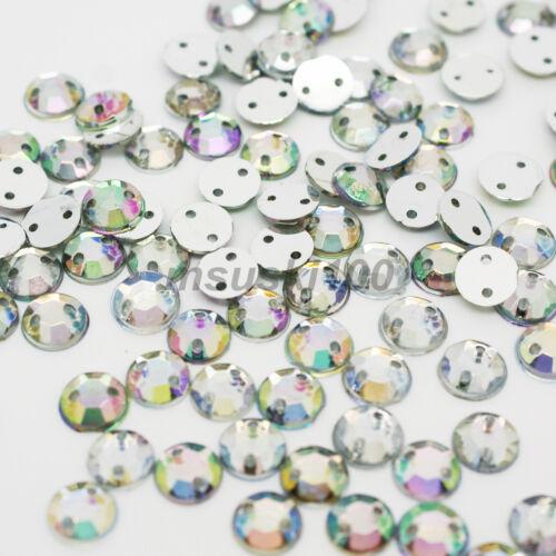 6 10mm 8 1000 AB CLEAR Sew On Rhinestone Diamante Gems Acrylic 2 holes 4 5