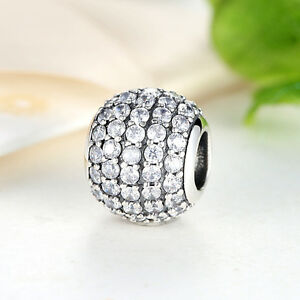 Xmas-Day-Sales-925-Sterling-Silver-Clear-CZ-Crystal-Charm-Bead-fit-Bracelet