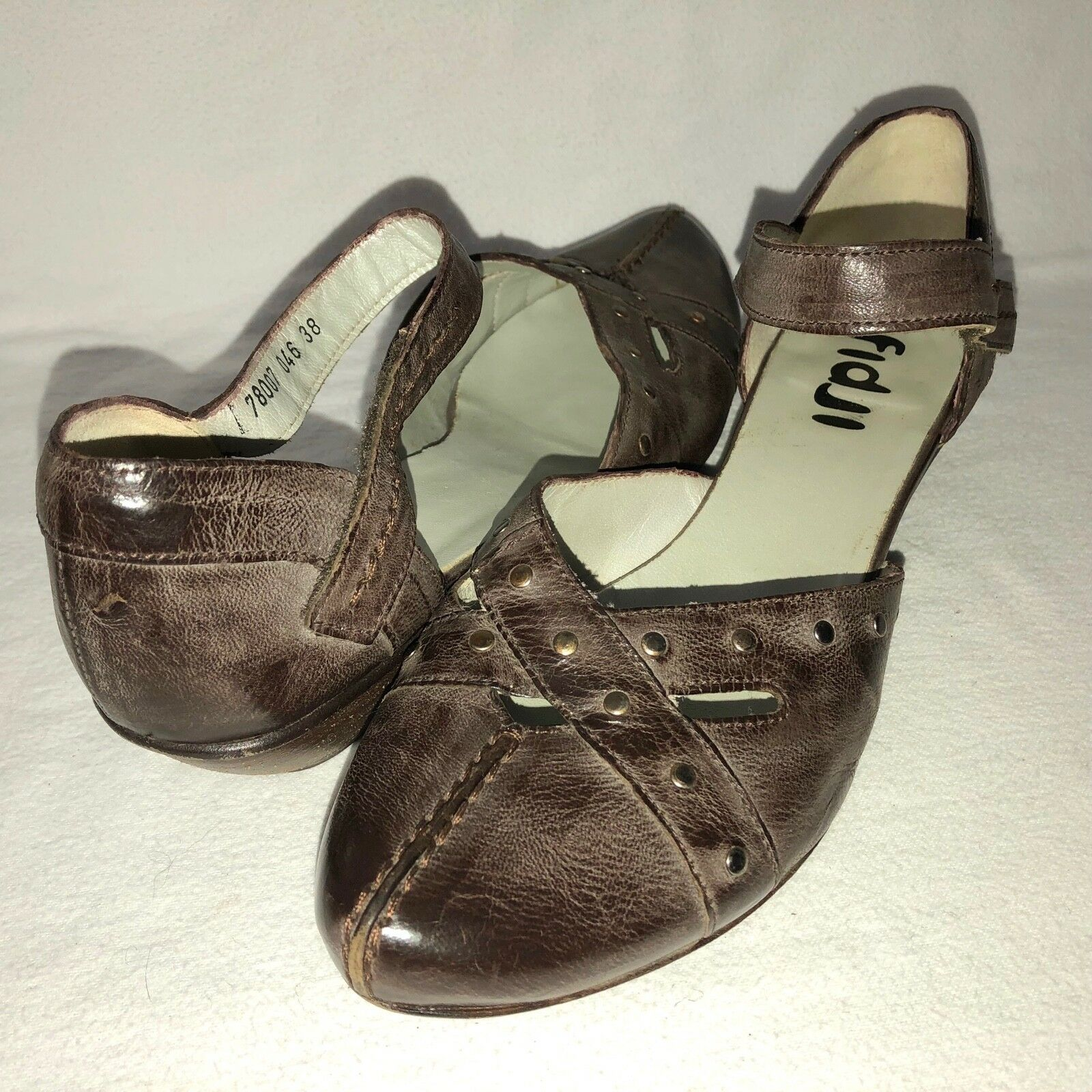Fidji Women's 38 US 7.5 Brown Antiqued Leather Stud Detail Ankle Strap Low Heels