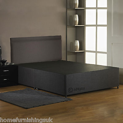 HF4YOU FABRIC DIVAN BED BASE - CHARCOAL/BLACK/CREAM + HEADBOARD  - 2FT6/4FT6/5FT