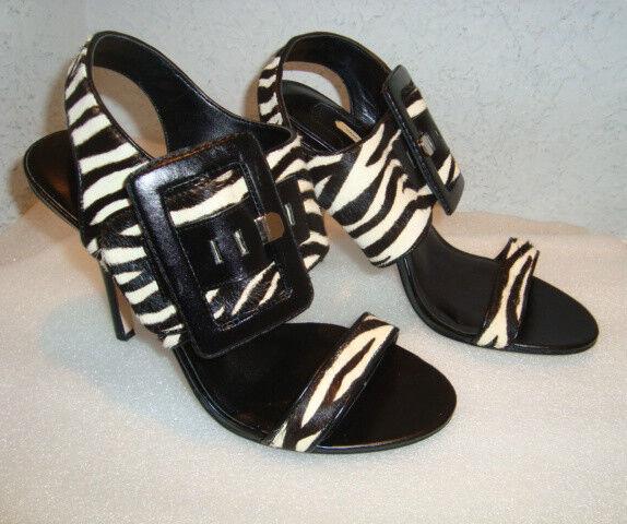 Max Studio Womens NWOB NWOB NWOB Xian Zebra Print Sandals shoes 6 MED NEW 7be9d7