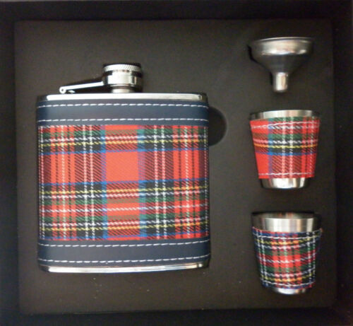 6oz 170ml SCOTTISH TARTAN HIP FLASK IN GIFT BOX with 2 x CUPS & FUNNEL