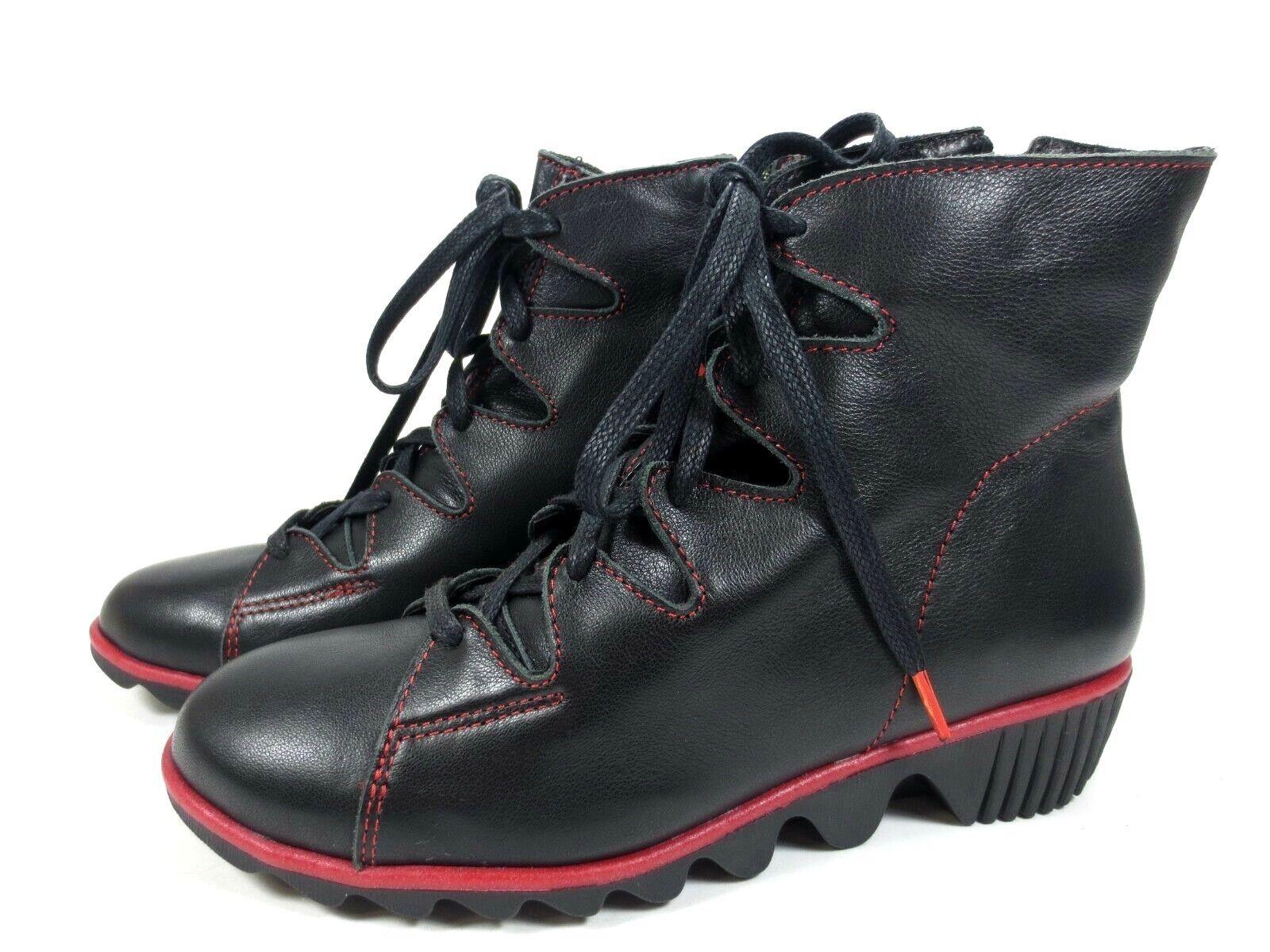 CLAMP Bilboa Leder Schuhe Stiefel Stiefeletten schwarz rot NEU 119,95